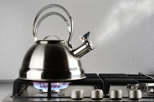 Чайник из нержавеющей стали на плите