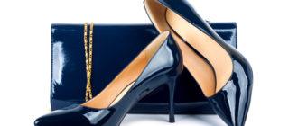Лакированные синие туфли с сумочкой