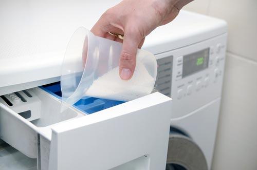 Загрузка стирального порошка в порошкоприемник