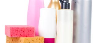 Поролоновые губки и средства для чистки различных поверхностей