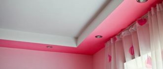 Потолок с отделкой из гипсокартона