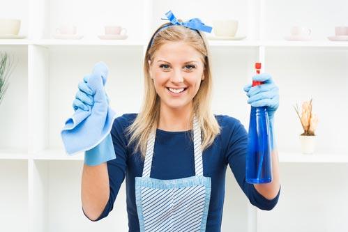 Девушка с чистящим средством и тряпкой в руках