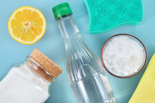Лимон, сода, уксус и соль для чистки пальто