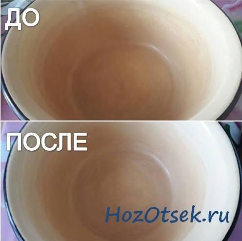 Эмалированная тарелка после чистки лимонной кислотой