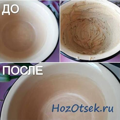 Посуда с покрытием из эмали после чистки горчицей
