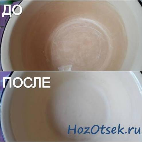 Посуда после действия лимонной кислоты