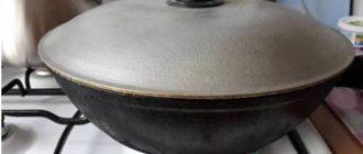 Чугунная сковорода с крышкой на плите