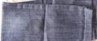 Небольшое жирное пятно на джинсах