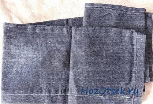 Жирное пятно на джинсовой материи