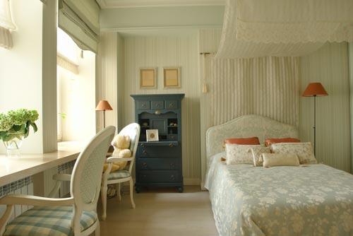 Спальня с римскими шторами