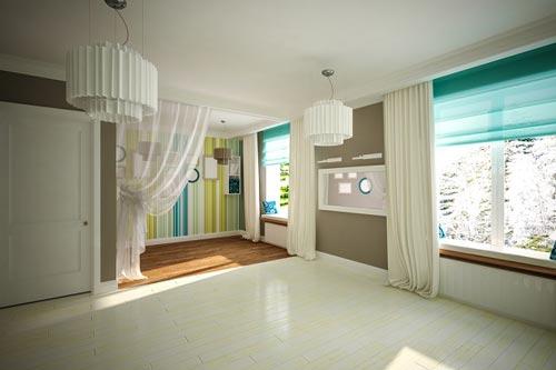 Зеленые римские шторы в просторной гостиной