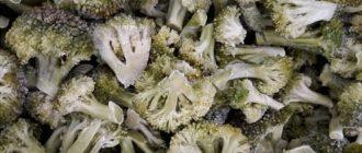 Замороженные соцветия брокколи на хранении